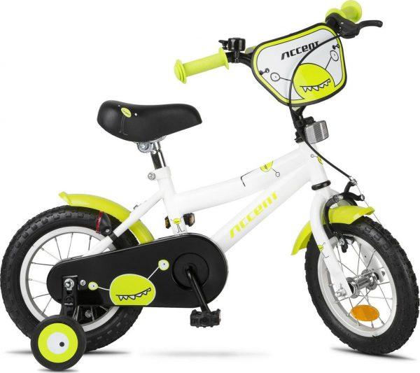 """Accent Rower dziecięcy Accent Monster 12"""" biało-zielony uniwersalny."""