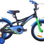 Rower dziecięcy 16 Fuzlu Racing czarno-niebieski uniwersalny.
