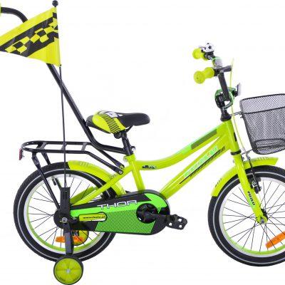 Rower dziecięcy 16 Fuzlu Thor żółto-zielony neonowy uniwersalny.