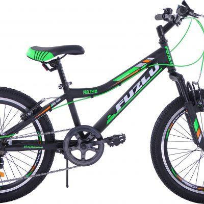 Rower dziecięcy 20 Fuzlu Pro Team czarno-zielony uniwersalny.