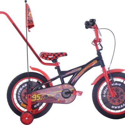 Fuzlu Rower dziecięcy 16 Auta CARS zygzak McQueen czarno-czerwony uniwersalny.