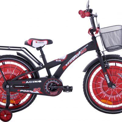 Fuzlu Rower dziecięcy 20 Racing Sport czarny mat czerwony uniwersalny.