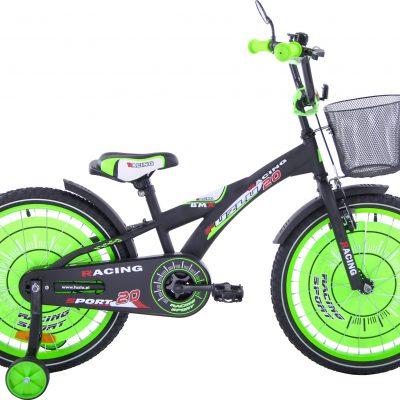 Rower dziecięcy 20 Racing Sport czarny mat zielony uniwersalny.