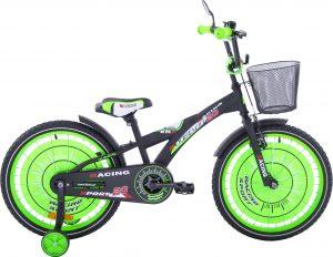 Fuzlu Rower dziecięcy 20 Racing Sport czarny mat zielony uniwersalny.