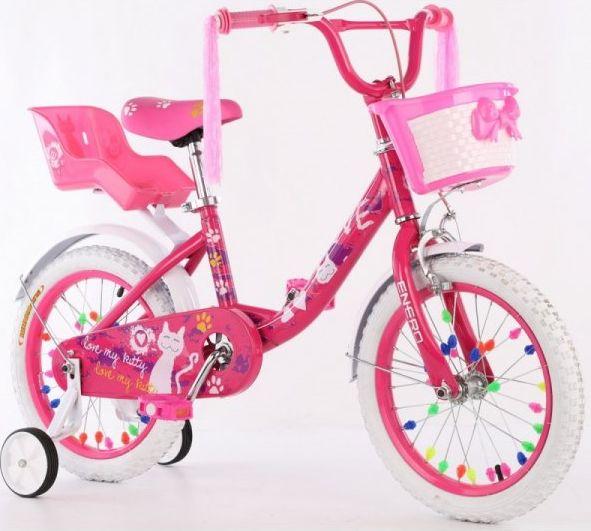 ENERO Rower dziecięcy 16 cali z wyposażeniem Enero Love Kitty.