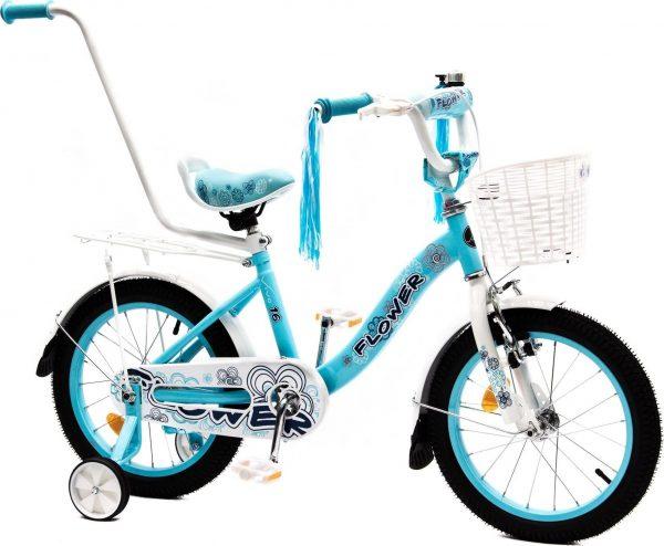 """Rower dziecięcy FLOWER 16"""" błękitno-biały Uniwersalny."""