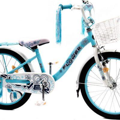 """Rower dziecięcy FLOWER 20"""" błękitno-biały Uniwersalny."""